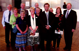 Members of Club at Te Huringa Exhibition function with Angus Fletcher, Chairman, The Fletcher Trust